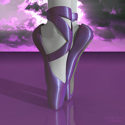 Ballet Toe Shoes Over Colorful Lavender Clouds Art Print by Andre Price