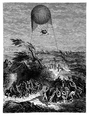 Balloon At Siege Of Mainz Art Print by Science Photo Library