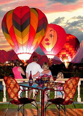 Sunset In Wine Country Painting - Balloon Glow At Twilight by Ron Chambers