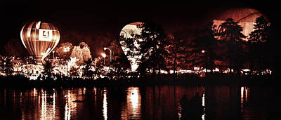 Photograph - Balloon Glow By Forest Park Lagoon by David Coblitz