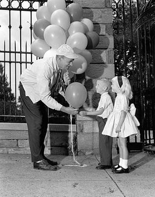 Balloon Man And Children, C.1960s Art Print