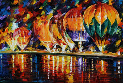 Balloon Park - Palette Knife Oil Painting On Canvas By Leonid Afremov Original by Leonid Afremov