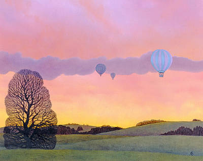 Winter Sports Painting - Balloon Race by Ann Brian