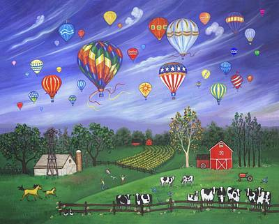 Hot Air Balloon Painting - Balloon Race One by Linda Mears