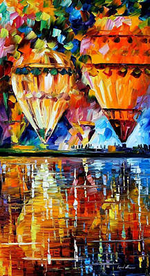 Balloon Reflections - Palette Knife Oil Painting On Canvas By Leonid Afremov Original by Leonid Afremov