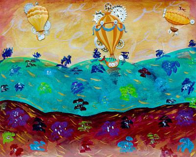Balloon Flower Mixed Media - Balloon Ride by Jessica Marin-feliciano