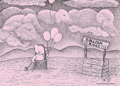 Balloon Flower Drawing - Balloon Rides by Brian Gilna