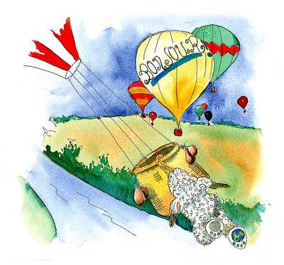 Hot Dogs Mixed Media - Ballooning In France by Leah Wiedemer