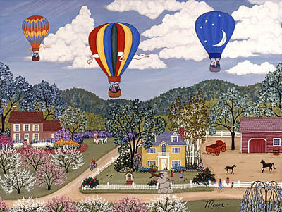 Hot Air Balloons Painting - Ballooning by Linda Mears