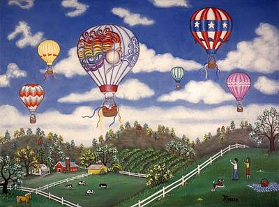Dairy Farm Painting - Ballooning Over The Country by Linda Mears