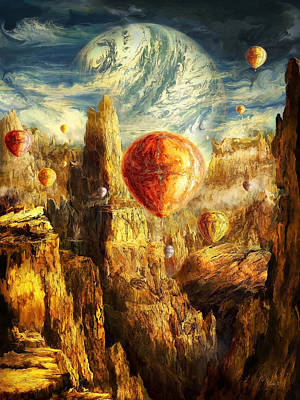 Ballooning Through The Cosmic Chasm Art Print by Ernest Tang