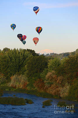 Balloons Mountain And River Art Print by Carol Groenen