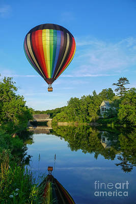 Covered Bridge Photograph - Balloons Over Quechee Vermont by Edward Fielding