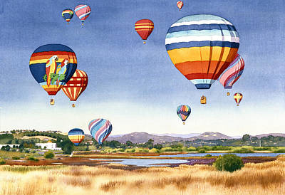 Watercolor Wall Art - Painting - Balloons Over San Elijo Lagoon Encinitas by Mary Helmreich