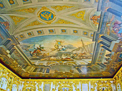 Catherine Palace In Russia Photograph - Ballroom Ceiling In Catherine's Palace In Pushkin-russia by Ruth Hager