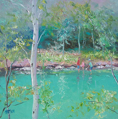 Landscape With Creek Painting - Balmy Day At The River by Jan Matson