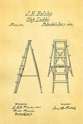 1862 Photograph - Balsley Step Ladder Patent Art 1862 by Ian Monk