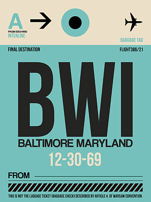 Baltimore Mixed Media - Baltimore Airport Poster 1 by Naxart Studio