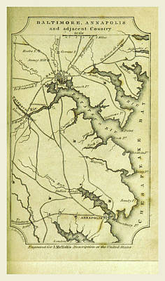 Baltimore Drawing - Baltimore, Annapolis, A Geographical Description by Litz Collection