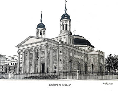Drawing - Baltimore Basilica by Frederic Kohli