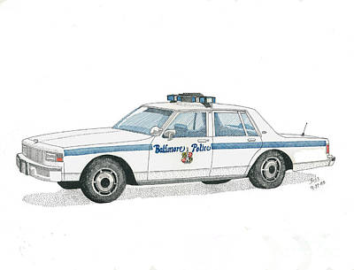 Baltimore City Police Vehicle Print by Calvert Koerber