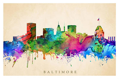 Digital Art - Baltimore Cityscape by Steve Will