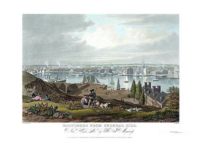 Cartography Painting - Baltimore From Federal Hill  - 1831 by Pablo Romero