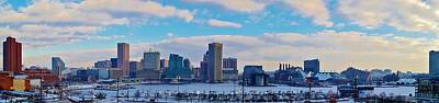 Photograph - Baltimore Frozen Harbor Skyline A Seen In This Winter Shot From Atop Federal Hill by William Bartholomew