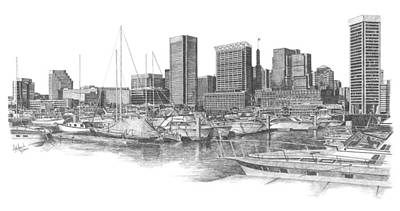 Baltimore City Drawing - Baltimore Harbor by Andrew Aagard