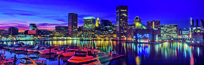 Baltimore Photograph - Baltimore Harbor By Night, Baltimore by Panoramic Images