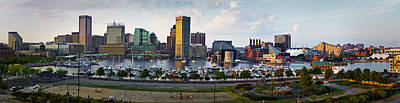 Photograph - Baltimore Harbor Skyline Panorama by Susan Candelario