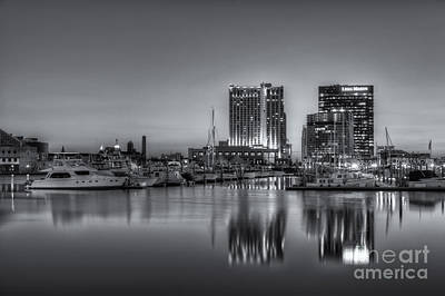 Photograph - Baltimore Inner Harbor East Skyline At Dawn II by Clarence Holmes