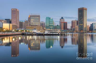 Baltimore Inner Harbor Skyline At Dawn I Art Print