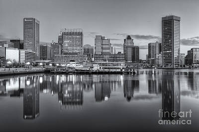 Photograph - Baltimore Inner Harbor Skyline At Dawn IIi by Clarence Holmes