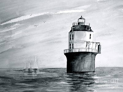 Painting - Baltimore Lighthouse In Gray  by Nancy Patterson