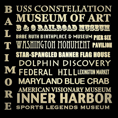 Star Spangled Banner Wall Art - Digital Art - Baltimore Maryland Famous Landmarks by Patricia Lintner