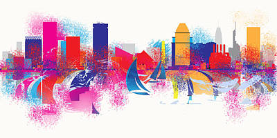 Digital Art - Baltimore Maryland Skyline by Loretta Luglio