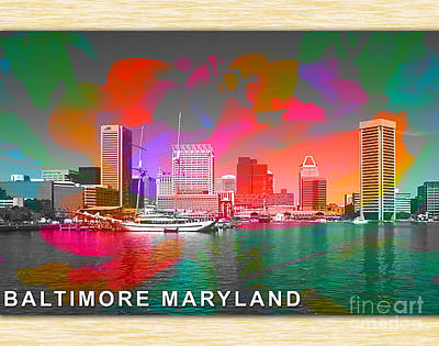 Skylines Mixed Media - Baltimore Maryland Skyline by Marvin Blaine