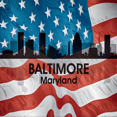 Abstract Skyline Mixed Media - Baltimore MD American Flag Squared by Angelina Tamez