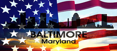 Digital Art - Baltimore Md Patriotic Large Cityscape by Angelina Vick