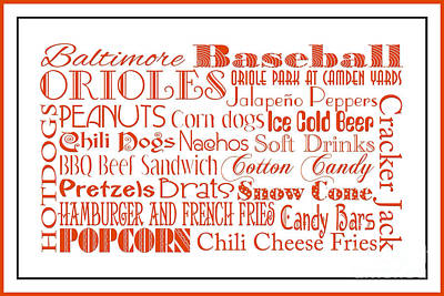 Digital Art - Baltimore Orioles Game Day Food 3 by Andee Design