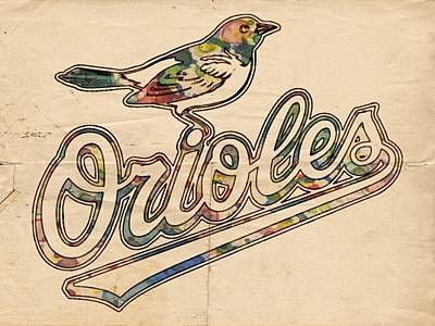 Baltimore Orioles Painting - Baltimore Orioles Stylish Logo by Florian Rodarte