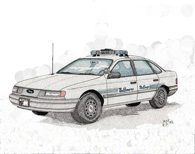 Baltimore Police Car Art Print by Calvert Koerber