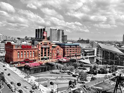 Photograph - Baltimore Power Plant Color Black White by Chris Montcalmo