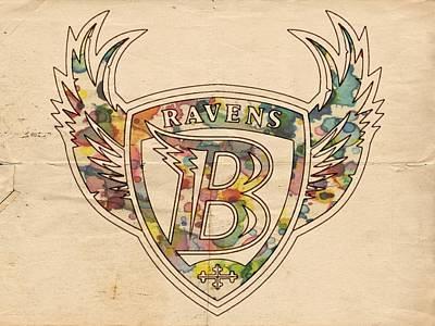 Football Painting - Baltimore Ravens Logo Vintage by Florian Rodarte