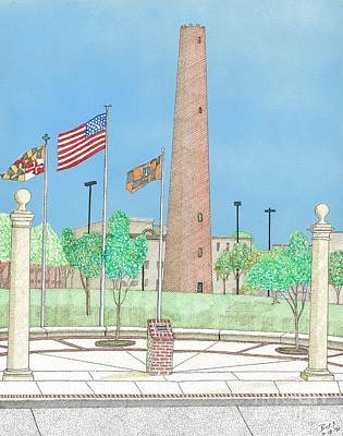 Baltimore Shot Tower Art Print by Calvert Koerber