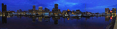 Photograph - Baltimore Skyline At Night Panorama by Sheila Kay McIntyre