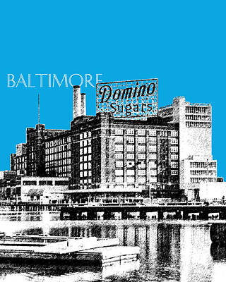 Pen Digital Art - Baltimore Skyline Domino Sugar - Ice Blue by DB Artist