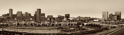 Urban Landscape Photograph - Baltimore Skyline Panorama In Sepia by Susan Candelario