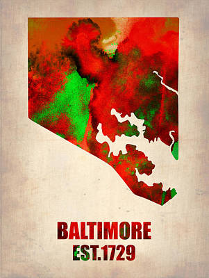 Baltimore Painting - Baltimore Watercolor Map by Naxart Studio